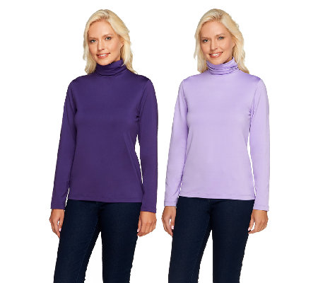 Susan Graver Essentials Butterknit Set of 2 Ruched Turtlenecks