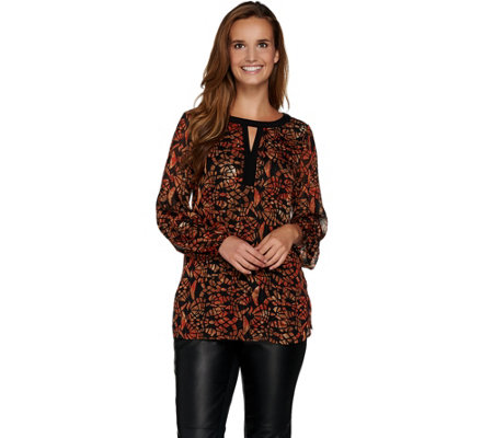 Susan Graver Printed Woven Tunic w/ Liquid Knit Back