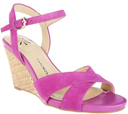 """As Is"" Isaac Mizrahi Live! Leather & Suede Crossover Strap Wedge Sandals"