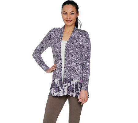 Logo By Lori Goldstein Mixed Print Cardigan With Pop Pockets