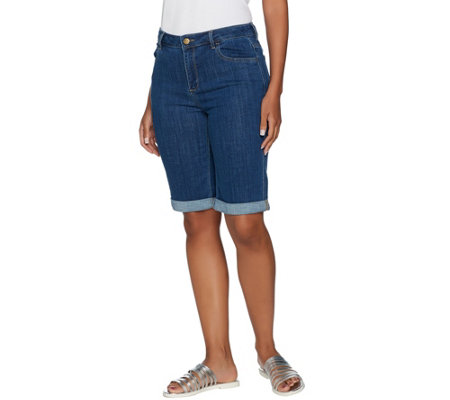 LOGO by Lori Goldstein 5-Pocket Denim Bermuda Shorts w/ Rolled Cuffs