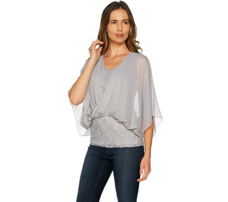 Laurie Felt Knit Lace Top with Chiffon Overlay