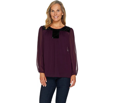 """As Is"" Susan Graver Artisan Embellished Tunic with Velvet Trim"