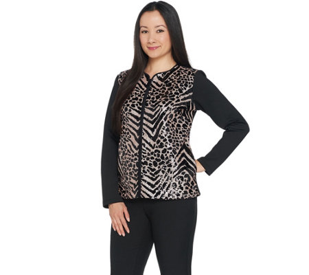 Bob Mackie Sequin Front Knit Zip Front Jacket