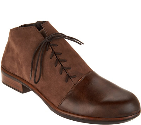 Naot Leather Outside Lace-up Ankle Boots - Camden