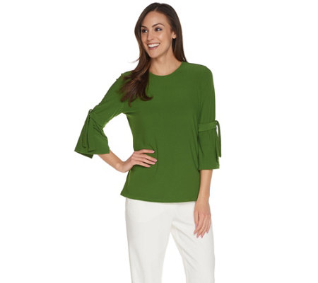Every Day by Susan Graver Textured Liquid Knit Top with Tie Sleeves