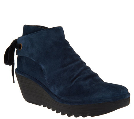 e62bce848f FLY London Suede Ruched Ankle Boots with Tie Detail - Yebi - Page 1 ...