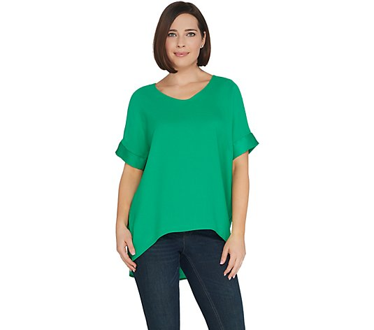 BROOKE SHIELDS Timeless Woven Top w/ Mesh Shoulder Detail
