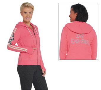 Peace Love World Embroidered Zip Front Jacket A