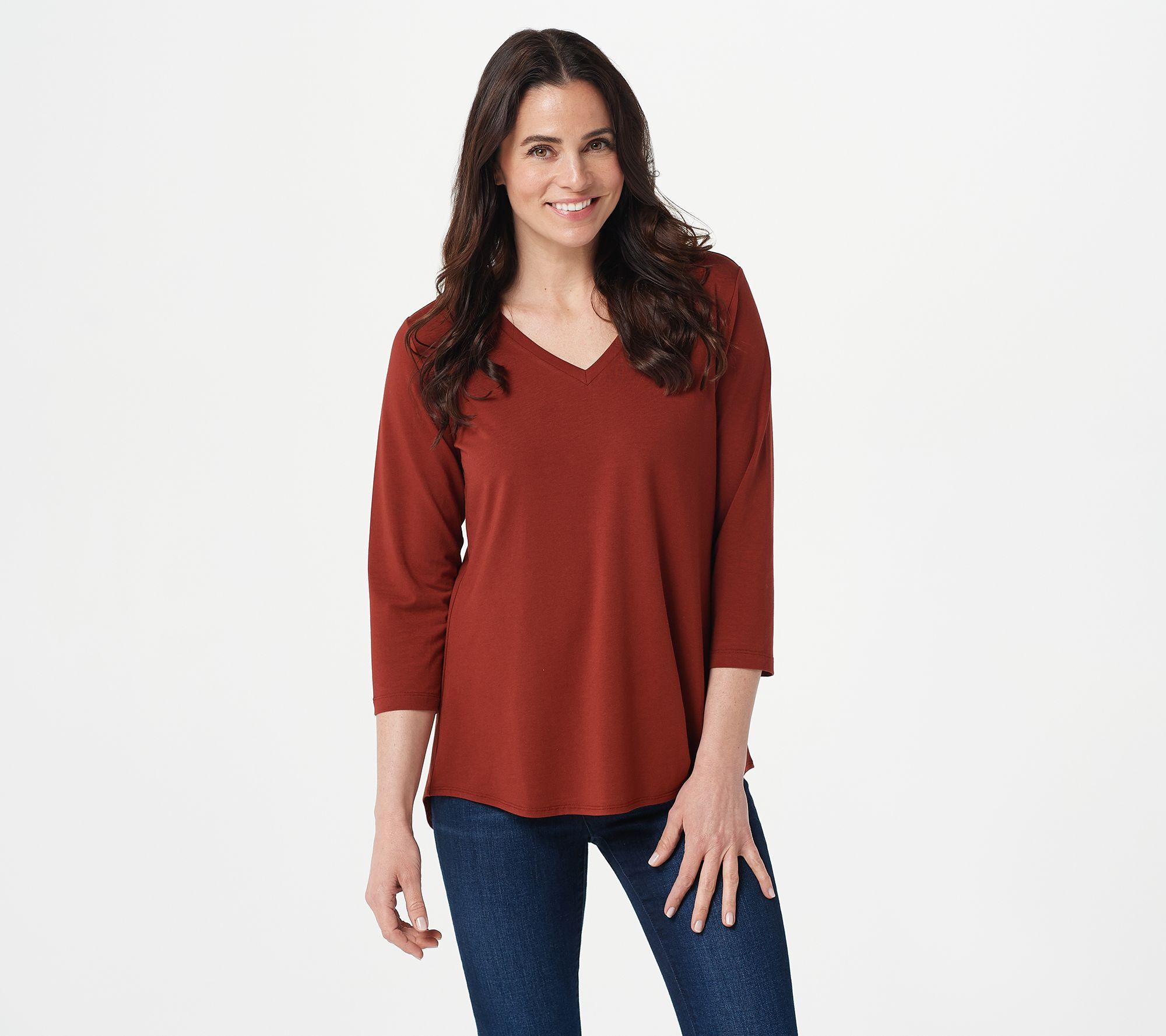 Susan Graver Women/'s Small Lucky Green Modern Essentials Cotton Modal Top