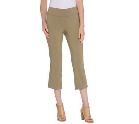 Martha Stewart Regular Stretch Twill Crop Pants with Back Slits