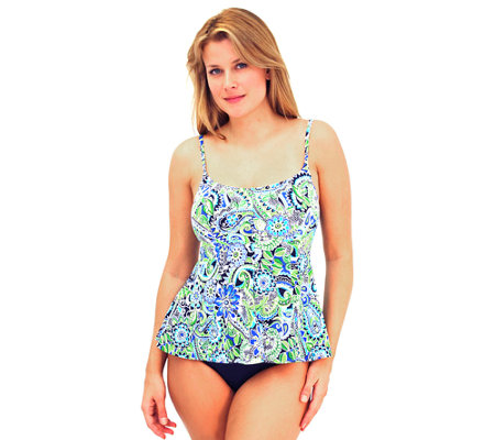 Fit 4 U Tummy Whimsical Paisley Cami Peplum Swim Top