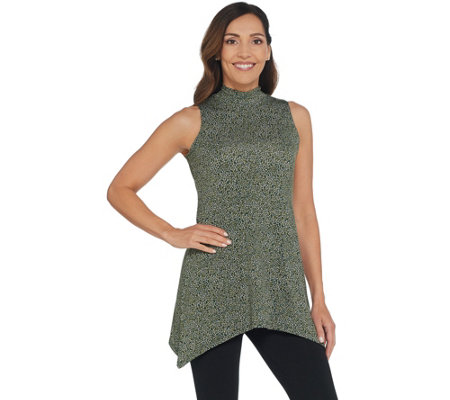 LOGO Layers by Lori Goldstein Printed Knit Mock-Neck Tank Top