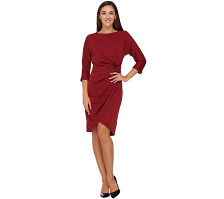 """As Is"" H by Halston Dolman Sleeve Dress with Knotted Waist Detail"