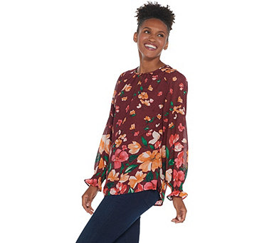 Isaac Mizrahi Live! Floral Border Print Woven Tunic w/ Smocked Sleeve - A344418
