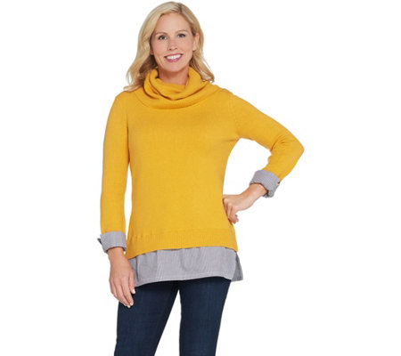Du Jour Turtleneck Sweater Tunic with Striped Shirttail