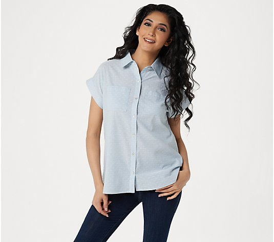LOGO by Lori Goldstein Woven Button- Down Blouse with Pocket