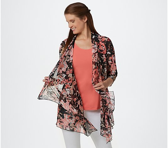 Susan Graver Printed Mesh Cardigan and Liquid Knit Tank Set