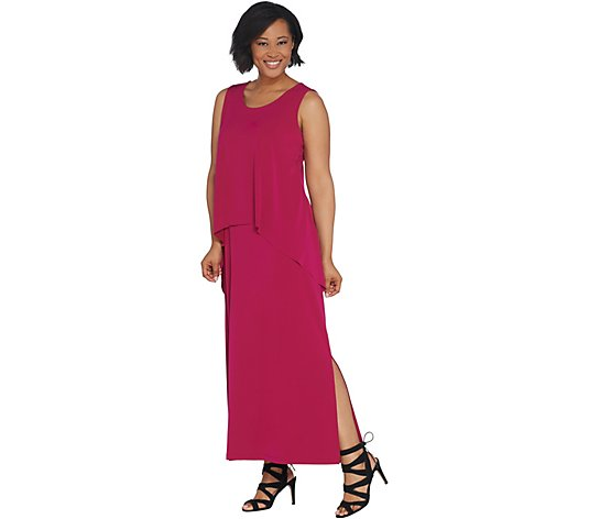 """As Is"" Susan Graver Petite Liquid Knit Tiered Maxi Dress"