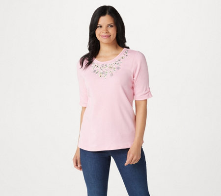 Quacker Factory Floral Embroidered Knit Top with Ruched Sleeves