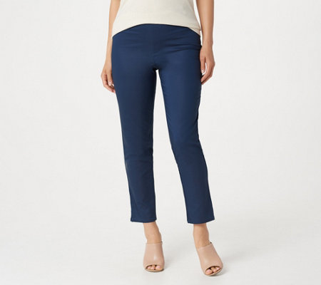 H by Halston Regular Ankle Stretch Gabardine Pull-On Pants