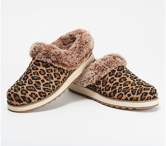 Skechers BOBs Knit Faux Fur Leopard Print Clog Slippers- Keepsakes 2.0