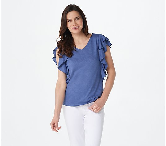Belle by Kim Gravel Slub Knit Double Ruffle V-Neck Top