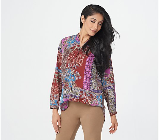 """As Is"" Joan Rivers Patchwork Print Textured Blouse"