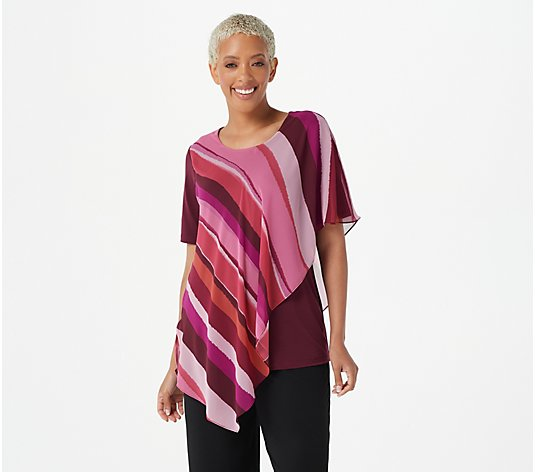 """As Is"" Susan Graver Liquid Knit Top with Printed Woven Overlay"
