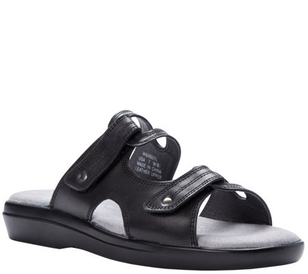 Propet Leather Slide Sandals With Ortholite Foam Marina