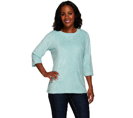 Denim & Co. 3/4 Sleeve Knit Terry Tunic