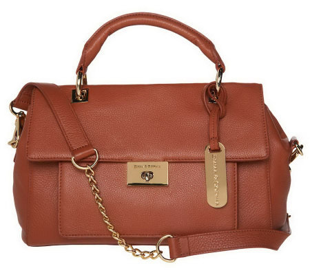 """As Is"" Emma & Sophia Leather Flap Front Satchel"