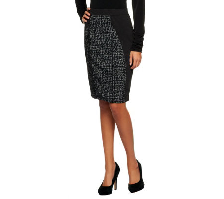 George Simonton Ponte Knit Skirt with Houndstooth Jacquard