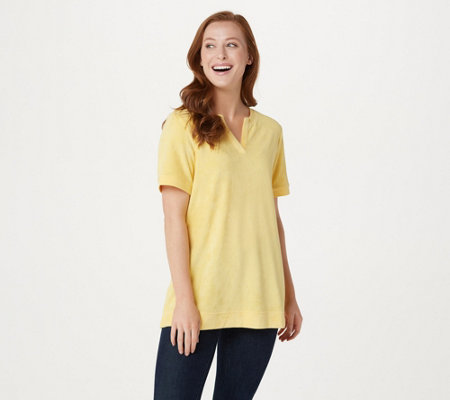 Denim & Co. Essentials Knit Terry Short Sleeve Top