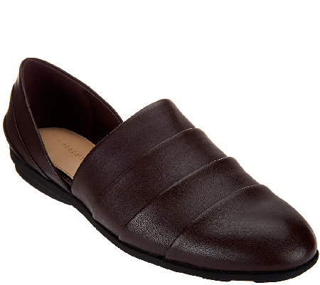 H by Halston Pieced Leather Slip-On Shoes - Elisa