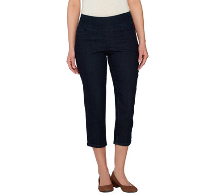 Denim & Co. Perfect Denim Smooth Waist Pull-on Crop Jeans