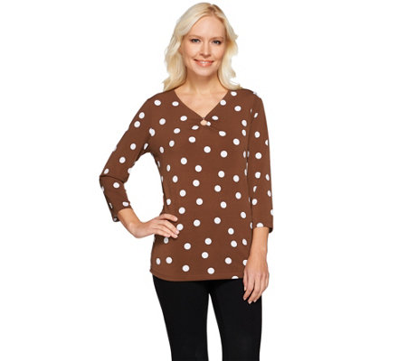 Susan Graver Printed Liquid Knit 3/4 Sleeve V-neck Top w/Ring Detail