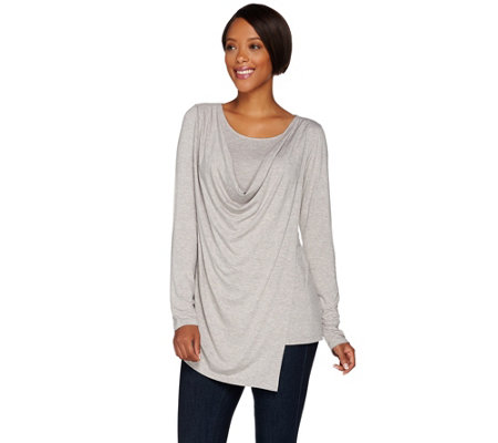H by Halston Long Sleeve Wrap Front Cowl Neck Knit Top