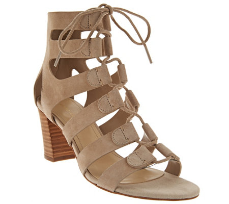 """As Is"" Marc Fisher Suede Lace-up Block Heel Sandals - Paradox"
