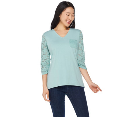 Denim & Co. 3/4 Sleeve Perfect Jersey V-Neck Top w/ Lace Detail