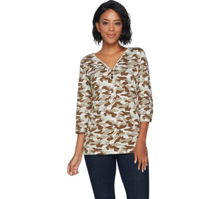 Belle by Kim Gravel Camo Printed 3/4 Sleeve Knit Top w/ Zipper