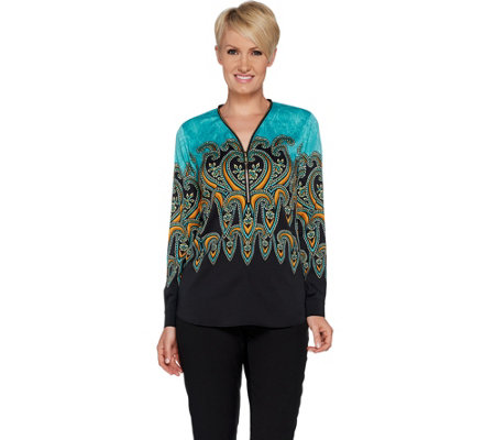 Bob Mackie's Paisley Print Woven Blouse with Zipper Neck Detail