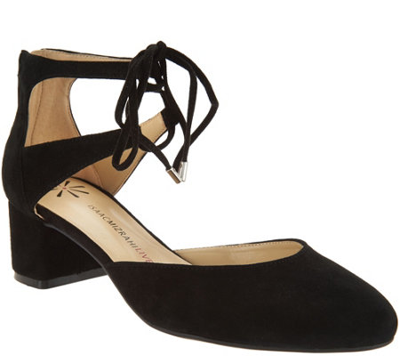 As Is Isaac Mizrahi Live Suede Lace Up Pump With Block Heel