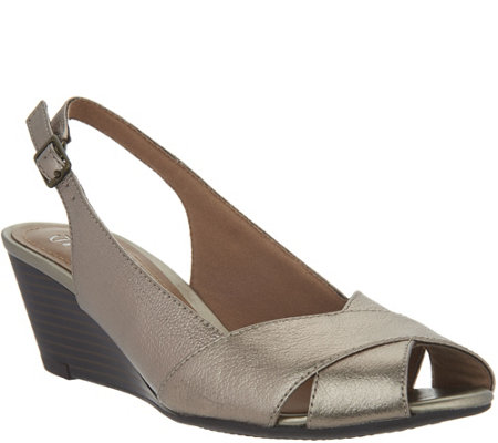 """As Is"" Clarks Leather Slingback Peep-toe Wedges - Brielle Kae"