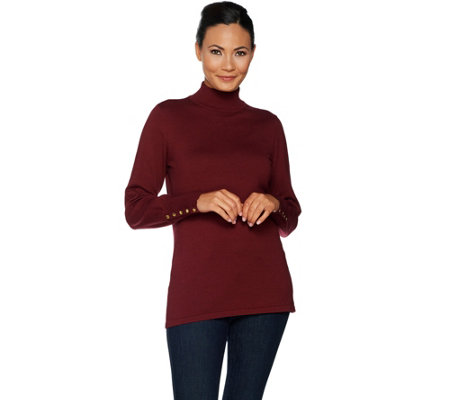 Dennis Basso Mock Neck Sweater with Button Cuff Trim