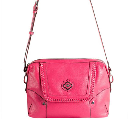 """As Is"" orYANY Pebble Leather Crossbody w/ Whipstitch Detail - Lacy"