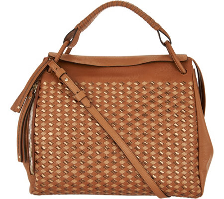 """As Is"" Plinio Visona Italian Woven Leather Satchel"