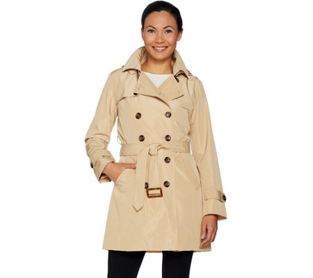 """As Is"" Joan Rivers Water Resistant Trench Coat w/ Removable Hood"
