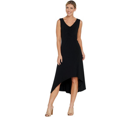 H by Halston Petite Jet Set Jersey V-Neck Hi-Low Dress
