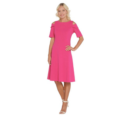 Dennis Basso Luxe Crepe Off The Shoulder Dress W Back Zipper